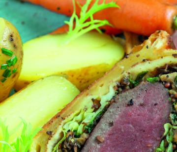 Venison Wellington with New Potatoes and Buttered Baby Carrots