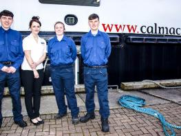 (LtoR) Jamie Humphrys from Greenock, Kathleen MacDonald from Glasgow, Megan Macdonald from South Uist and Daniel MacIntyre from Skye are among the Deck, Engineering and Retail Modern Apprentices taken on by CalMac