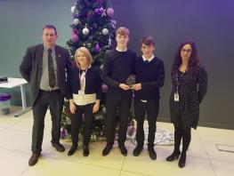 Lanarkshire Winners. L-Rt: Clive Gibb (Brannock High School), Karen Blair (First Direct), winners David Taylor and Jamie Wiper (Brannock High School) with Maddy Coats (City of Glasgow College)