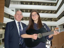 City of Glasgow College Principal & Chief Executive, Paul Little, with student, Megan Davidson