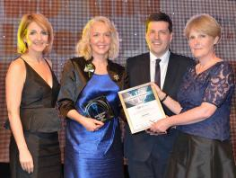 City of Glasgow College's HR team collecting their award