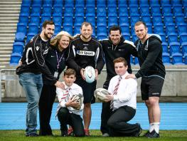 Glasgow Warriors pictured with Newlands Junior College pupils