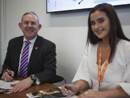 CoGC Student Partnership Agreement:Principal Paul Little, Student President Megan Cartwright