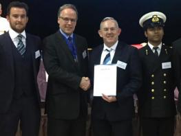 City of Glasgow College Principal & Chief Executive, Paul Little receiving Fellow from The Nautical Institute