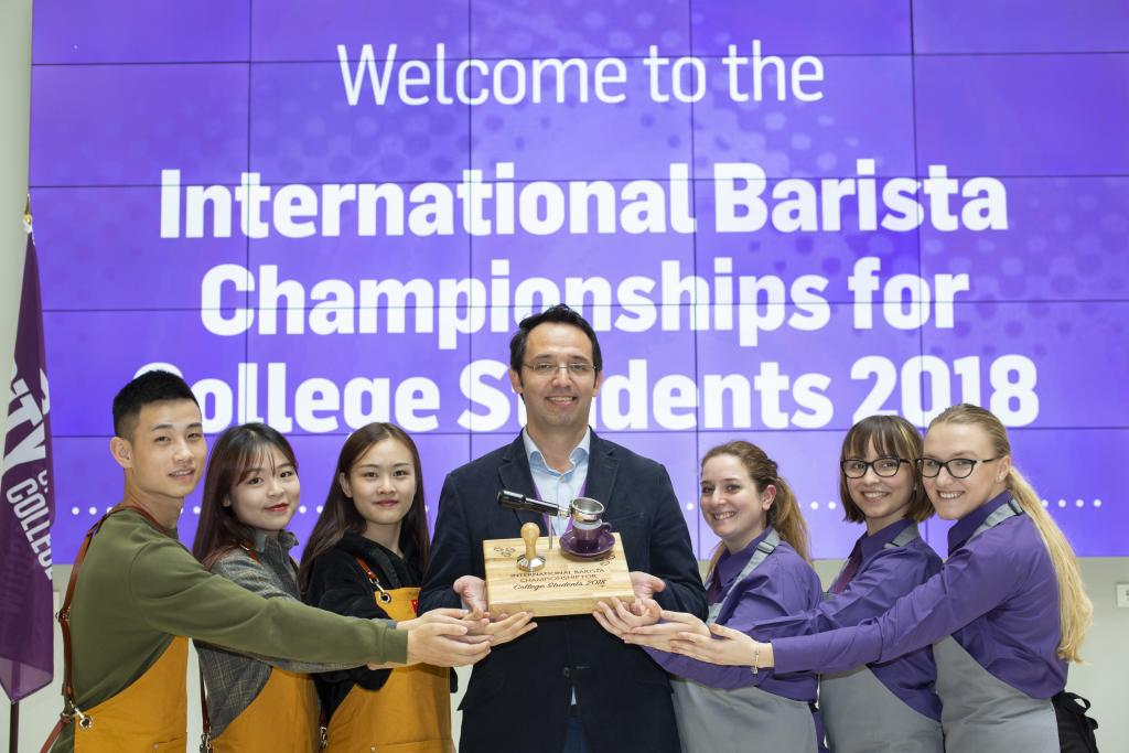Competing Barista students with Hugo Castaneda from Costa Coffee