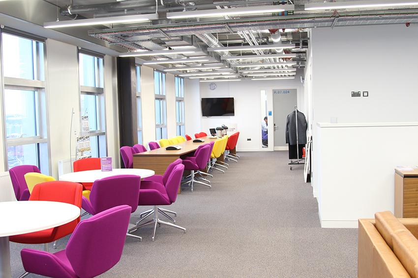 Break out space leading to the Boardroom at Riverside Campus