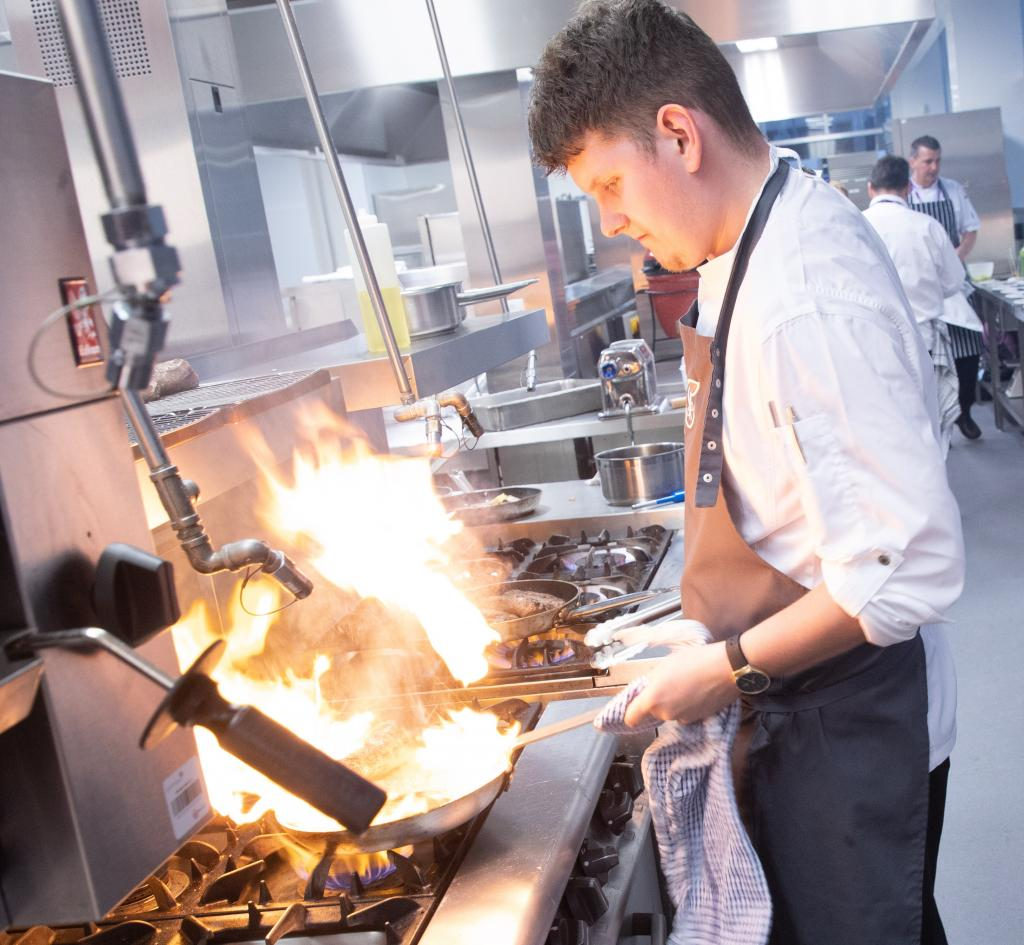 Calum Montgomery in kitchens at City campus, City of Glasgow College