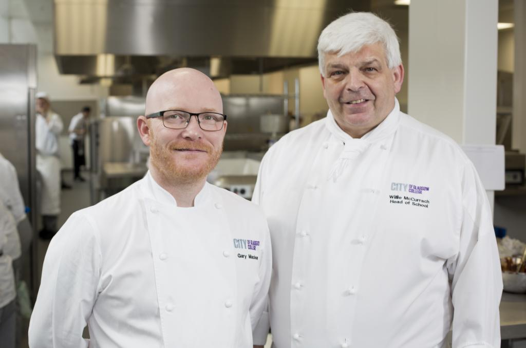 CoGC Curriculum Head of Food, Willie McCurrach OBE with Senior Chef Lecturer, Gary Maclean