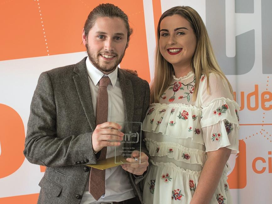 Students' Association Student President Handover LtoR: Ian Gilmour, Megan Cartwright