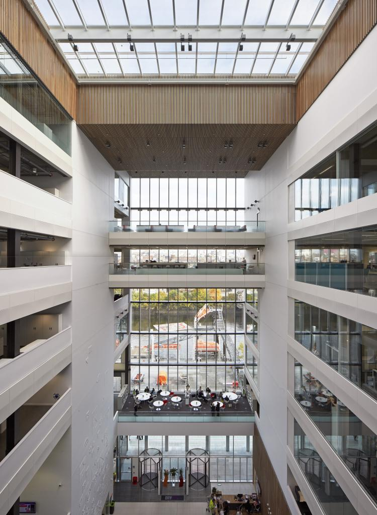 Internal photo of Riverside campus showing its seven storey atrium