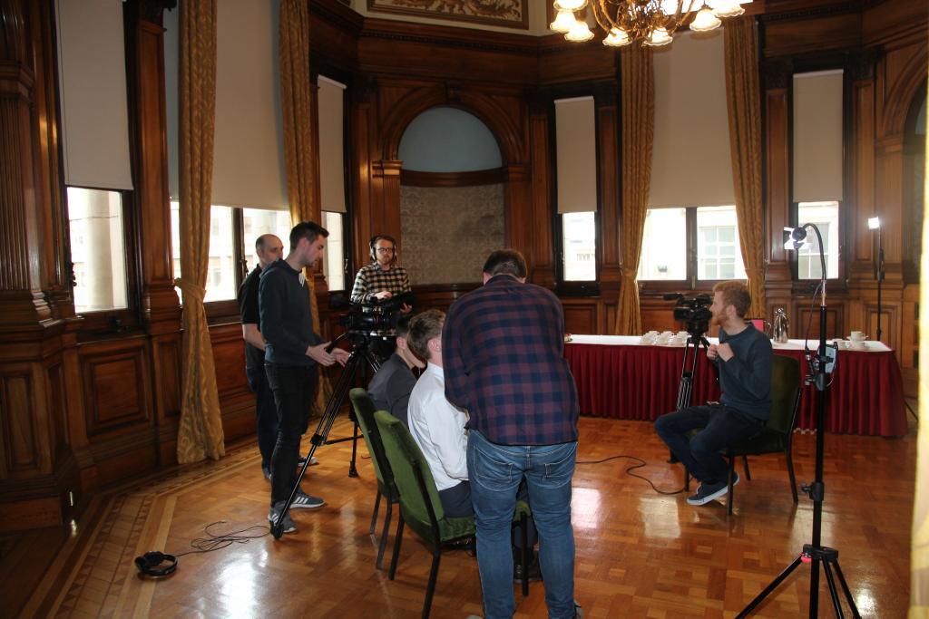 CoGC HND TV & Journalism Students set up for high profile press launch