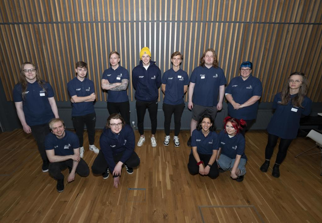 Photograph of 12 City of Glasgow College competitors for WorldSkills National Finals