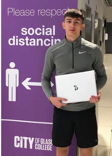 CoGC_Brandon Reeves_Health, Fitness and Sports Performance student with laptop