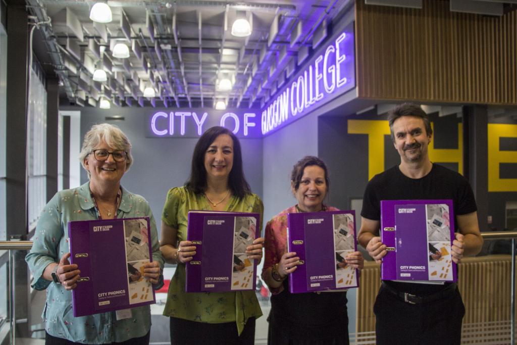 CoGC_CityPhonics19_LtoR_Diane Gardner (CoGC), Frances Bradley (Glasgow Life), Lorraine Smith (Rosemount Learning), Scott Nelson (NHS)