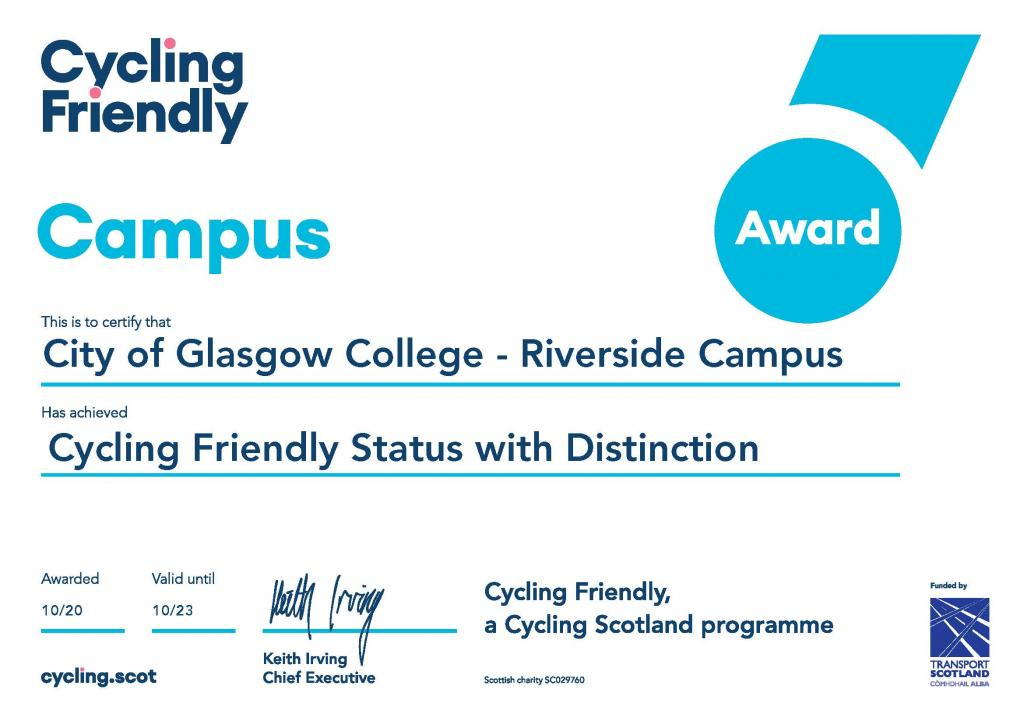 Cycling Friendly Certificate_Riverside Campus