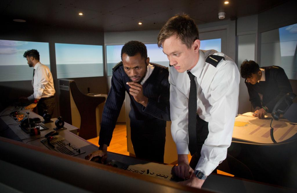 Nautical students working in the ships simulator at Riverside Campus.