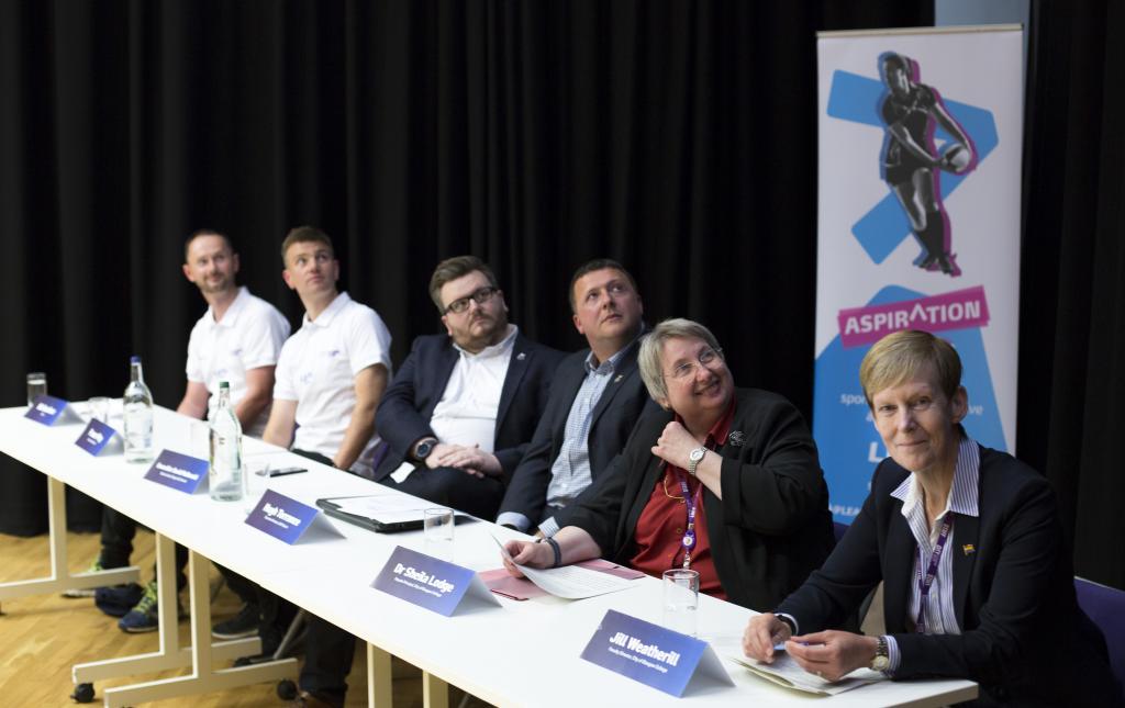 Gay Games 2018_LtoR Bill Gardiner, Fraser May, Cllr David McDonald, Hugh Torrance, Sheila Lodge, Jill Weatherill