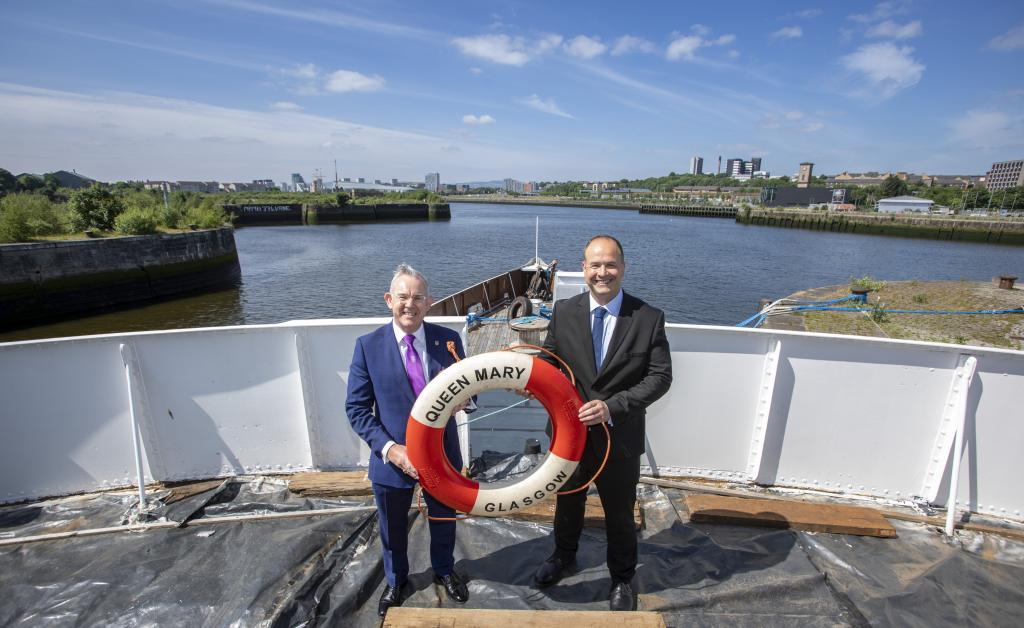 TS Queen Mary: Principal Paul Little and Iain Sim, Chair Friends of TS Queen Mary