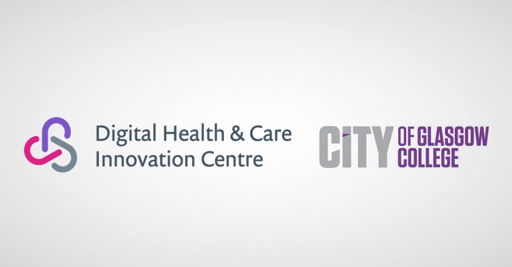 Photograph of Digital Health & Care Innovation Centre and City of Glasgow College logos