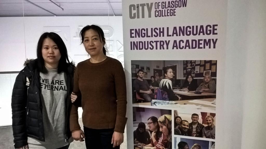 City of Glasgow College ESOL students LtoR: Xiulan He, Shu Huang