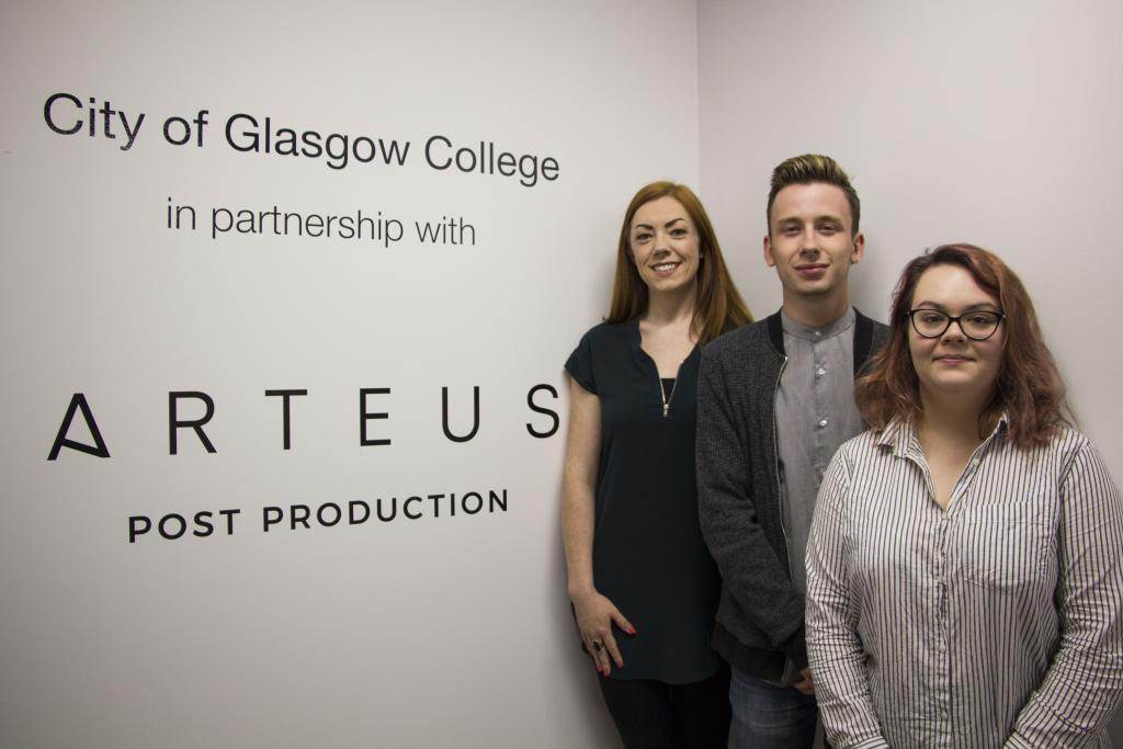 LtoR Caroline Gorman, Client Services Manager Arteus; David James Calder & Meg Winton, HND TV students