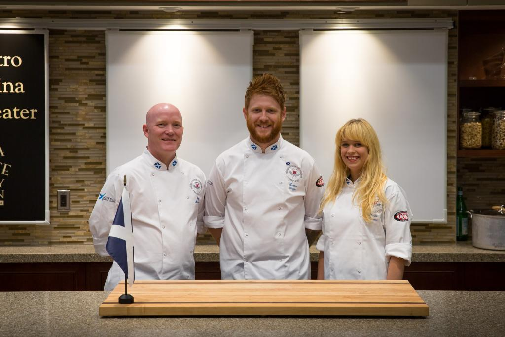 Photograph of Gary Maclean (left) with Darren Seggie (in middle) and fellow student Lenka Faksoba during Nations Cup competition in 2015