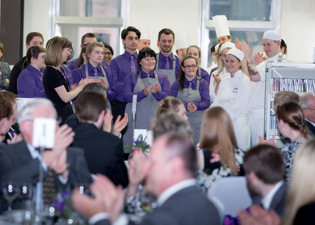 Events and Professional Cookery students at formal dinner.