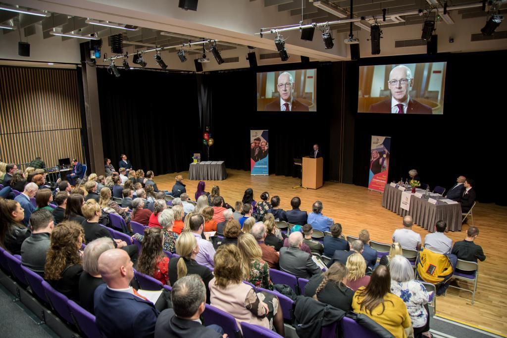 Deputy First Minister, John Swinney, congratulates Scotland's Skills Olympians