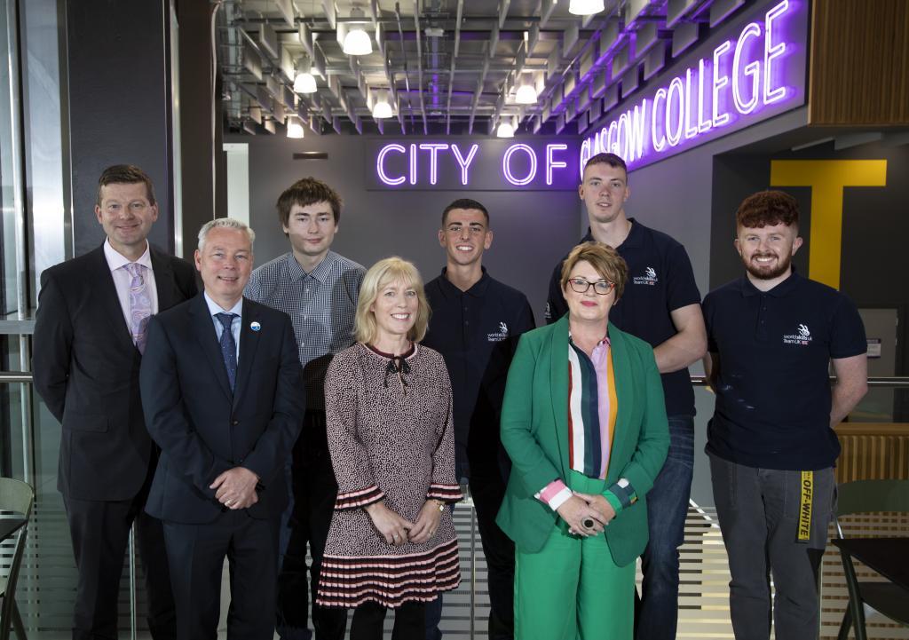 Principal Jon Vincent (Clyde College), Adrian, Callum, Mark, Martin Maguire (WSUK Director, Scotland), Audrey Munro (Clacks Council) Maggie Darroch