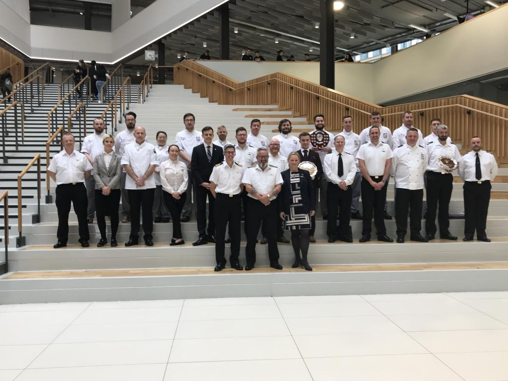 Photo of competitors in Royal Navy Cook and Serve Challenge held at City of Glasgow College in 2019