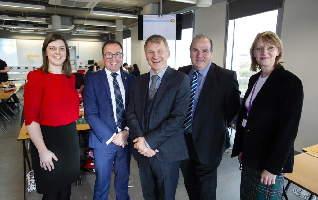 LtoR: Lise McCaffery, Regional Director, Primary Engineer; Roy Gardner; Ian McKee MSP; Gerry Facenna, Chair Allied Vehicles; Dr Susan Scurlock