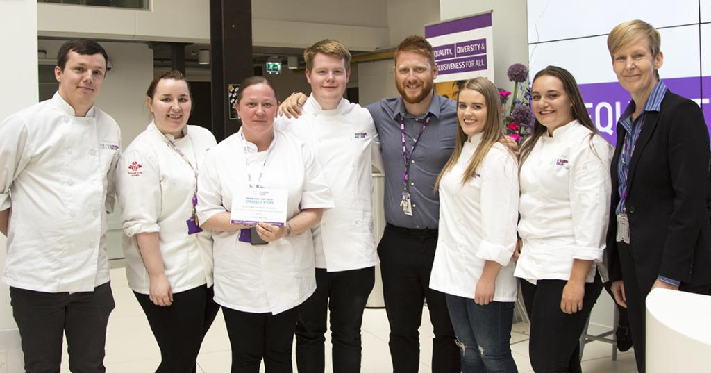 Winner Leisure & Lifestyle - Darren Seggie with HNC Professional Cookery Students and Jill Weatherill (Faculty Director)