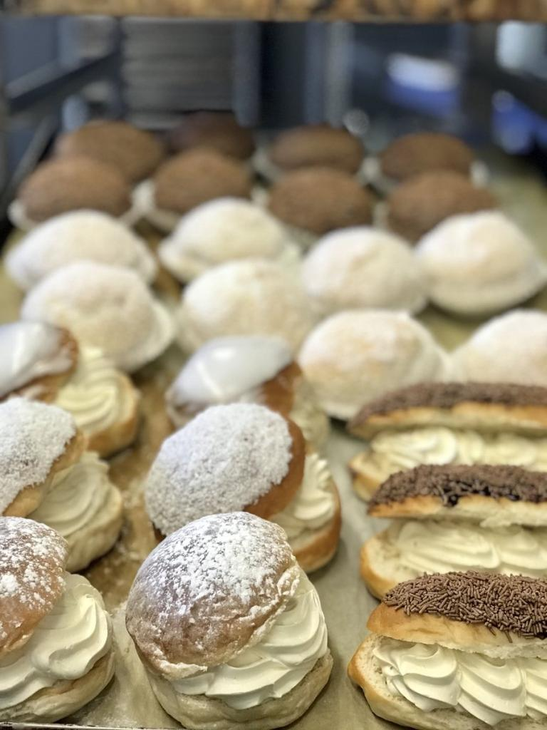 Freshly made cream buns for sale at City Market.