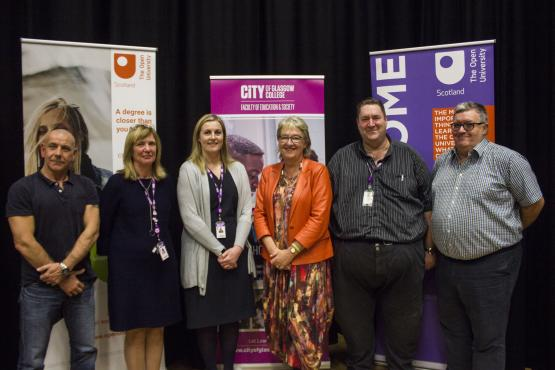 BA (Honours) Open Launch: LtoR: Prof. Steve Tombs, Faculty Director Kay Sheridan, Vice Principal Joanna McGillivray, Director OU Susan Stewart, Curriculum Head Tony Sweeney, Dr Gerry Mooney Senior Lecturer OU