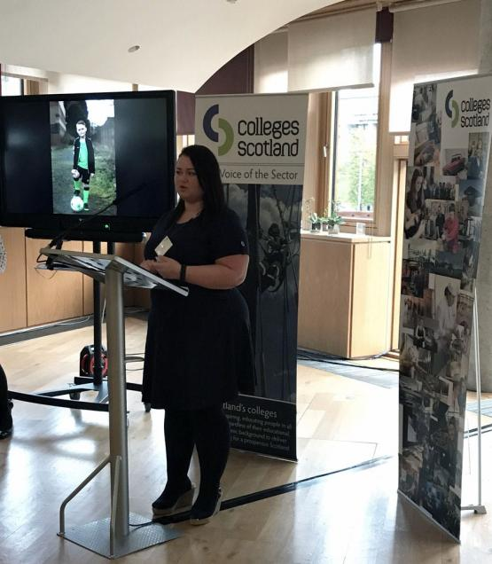 CoGC student, Ilisa Stack speaking at Colleges Scotland Parliamentary Reception