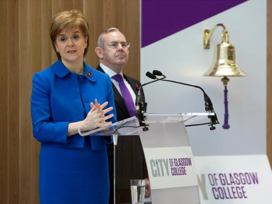 First Minister Nicola Sturgeon addressing staff, students and special guests at the official campus opening