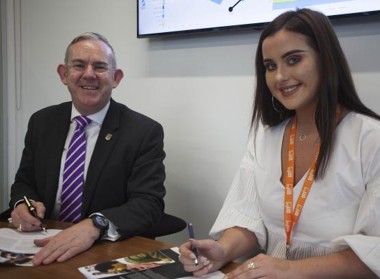 CoGC Student Partnership Agreement:Principal Paul Little, Student President Megan Cartwright