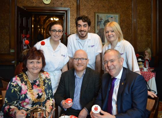 CoGC bakery students serve Lord Provost a Red Nose Tea
