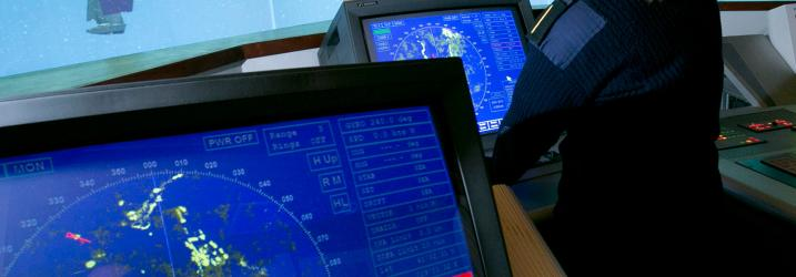Cadet operating our Ship's Simulator