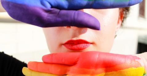 Pride print on hands