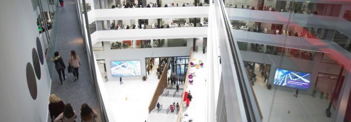 View of the Atrium at City campus from above.