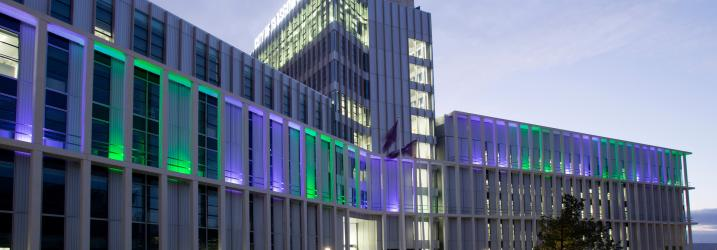 External view of City Campus at night.