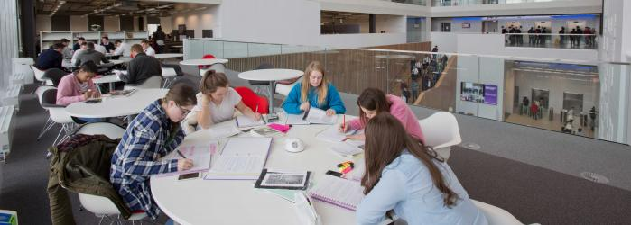 Students studying in Riverside campus library.