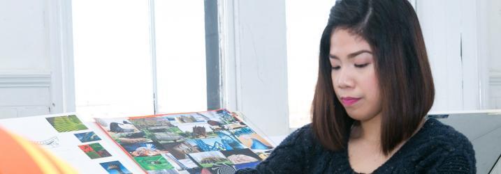 Interior Design student doing artwork