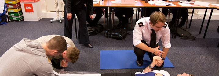 Nautical Students practising First Aid Skills.