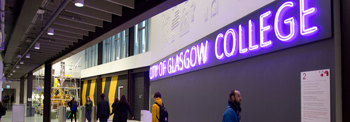 City of Glasgow College neon sign in reception area of City Campus.