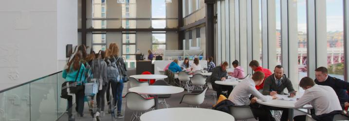 Group of students on our Riverside Campus mezzanine