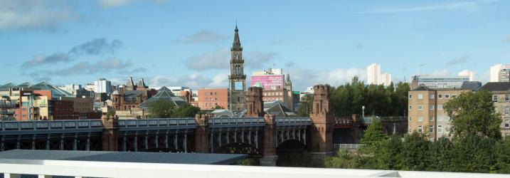 View from our Riverside Campus towards Glasgow city centre
