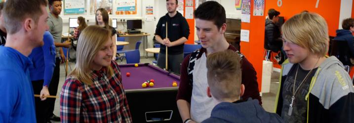 Students chatting in the Students'Association