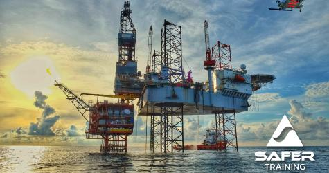 Opito training courses - oil rig and helicopter.